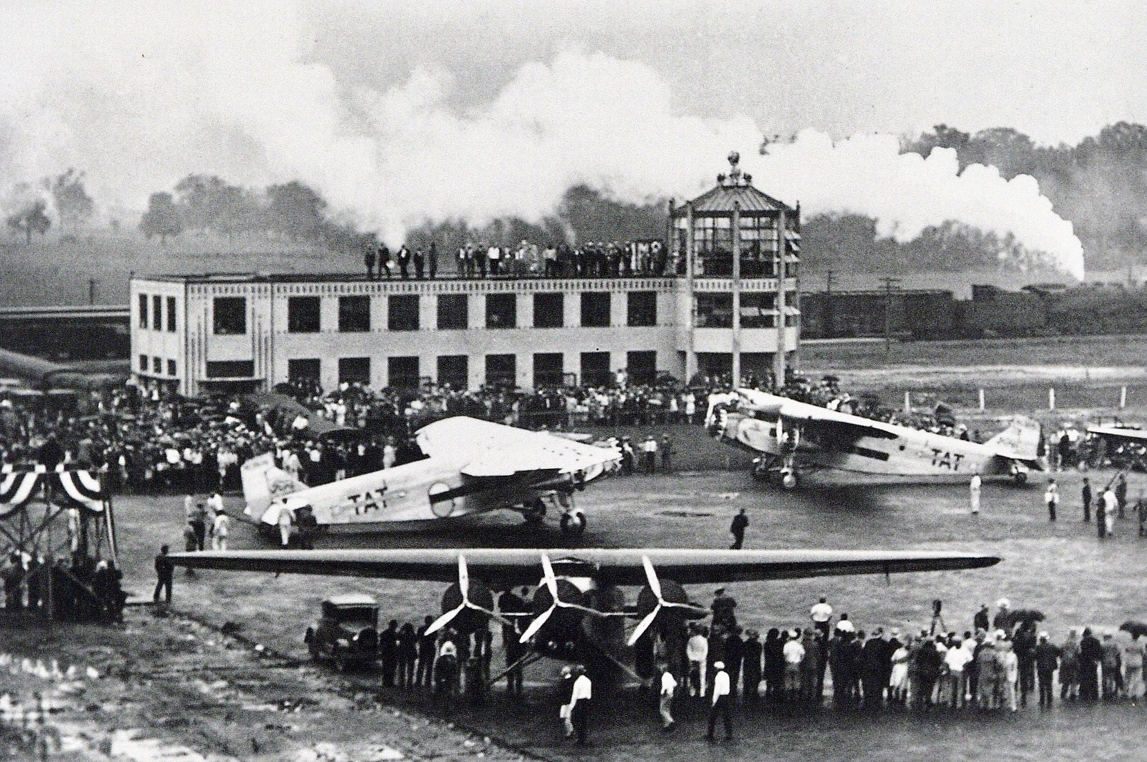 03 TAT - Transcontinental Air Transport Ford Tri-Motors at Port Columbus, Ohio Airport, 8 July 1929, Opening of Eastern Air Link of TAT's First Rail-Air, NY to CA